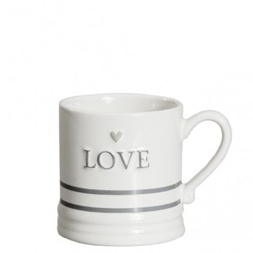 Bastion Collections Mug Small White Love & Stripes in Grey