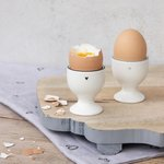 Egg cup white with black little heart bastion collections