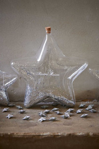 Riviera Maison Big Star Decoration Bottle silver L
