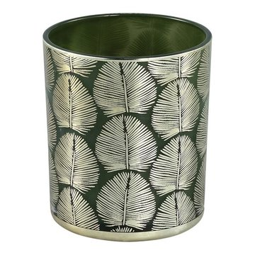 PTMD Marsh green Glass tealight round gold leaves L