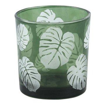 PTMD Yerba green Glass vase open leaf round s