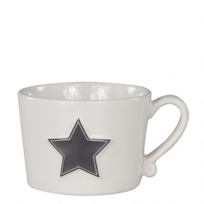 Bastion Collections Mug White/ Black Star in Relief