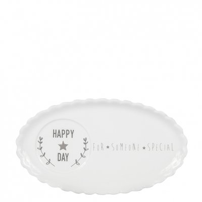 Bastion Collections Cafe Plate 25cm White Happy Day