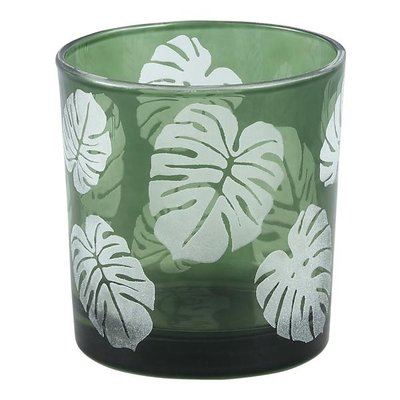 PTMD Yerba green Glass vase open leaf round s