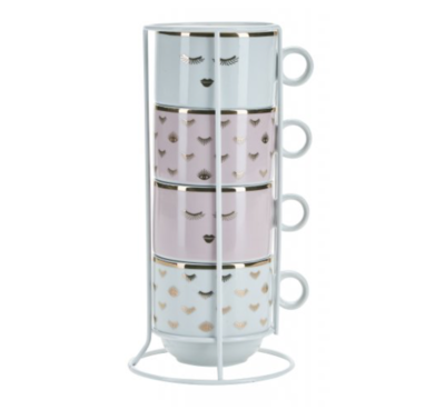 Miss Etoile 4 mugs in a rack rose