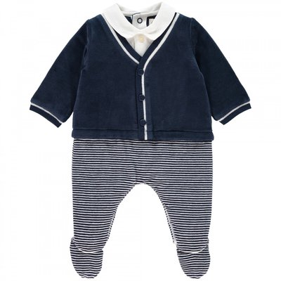 Emile et Rose Nate Baby Boys Smart Striped Babygrow 3 maanden