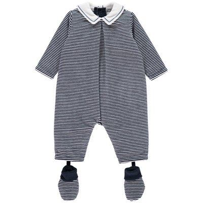 Emile et Rose Nigel Navy Velour Striped All in One With Booties 1 maand