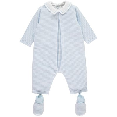 Emile et Rose Nigel Blue Velour Striped All in One With Booties 3 maanden
