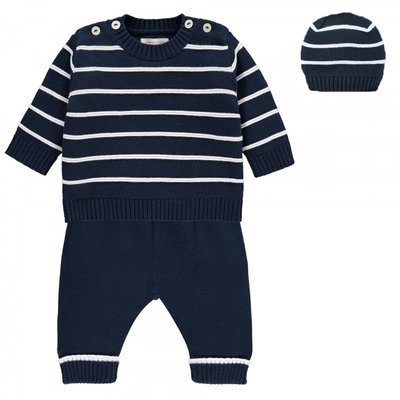 Emile et Rose Noel Cosy Knit Stripe Top, Trousers & Hat Set 3 maanden