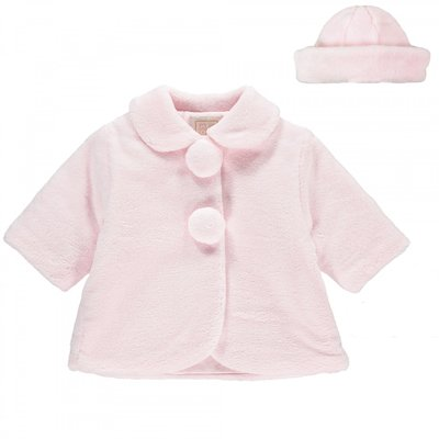 Emile et Rose Napia Baby Girls Smart Fleece Coat & Beret 3 maanden