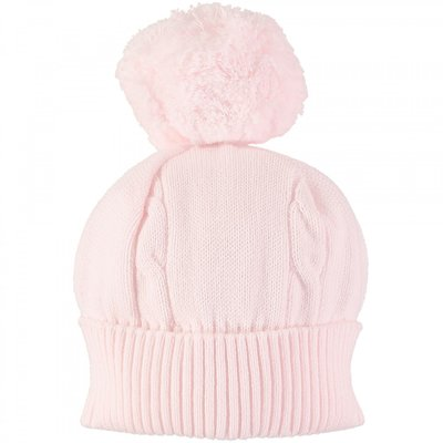 Emile et Rose Fuzzy Pink Bobble Hat