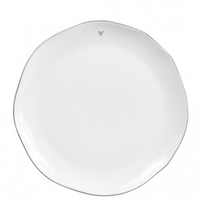 Bastion Collections Breakfast Plate White/little heart in grey 23 cm