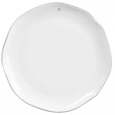 Bastion Collections Dinner Plate White/edge grey 27 cm