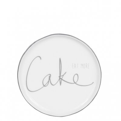 Bastion Collections Cake Plate 16 cm White/eat more Cake in Grey