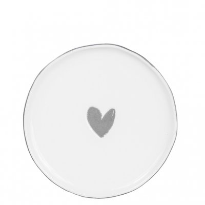 Bastion Collections Dessert Plate 19 cm White/Heart in Grey