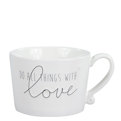 Bastion Collections Mug White/Do all things with Love Black/heart Rose