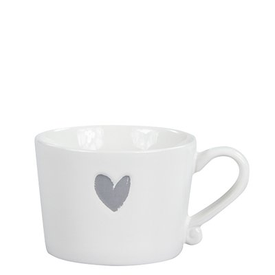 Bastion Collections Mug Small White/Heart in Grey