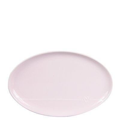 Bastion Collections Oval Plate Rose with line heart in white 20x13 cm