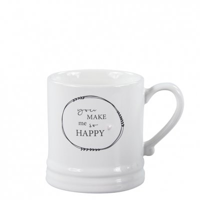 Bastion Collections Mug Small White/You make me so happy in black