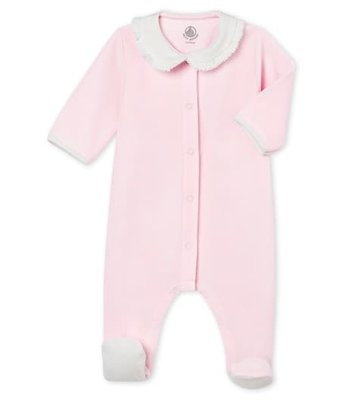 Le Petit Bateau Effen pyjama in katoenfluweel voor babymeisjes