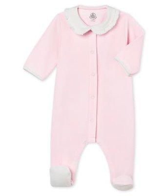 Le Petit Bateau Effen pyjama in katoenfluweel voor babymeisjes 3 maanden