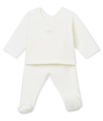 Le Petit Bateau 2-delige pyjama in geruwde Boucléstof