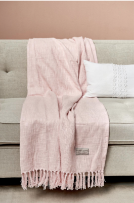 Rivièra Maison Serene Throw Pink 170 x 130
