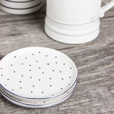 Bastion Collections Tea Tip White Dots & Heart In Black