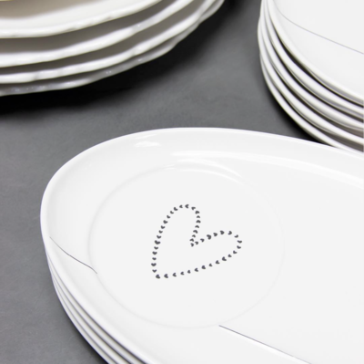 Bastion Collections Oval Plate White Hearts In Black