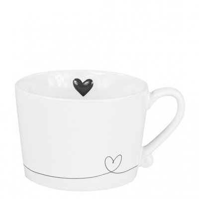 Bastion Collections Mug White Line Heart In Black