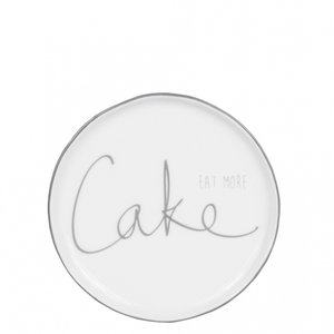 BC cake plate 16 cm eat more cake in grey