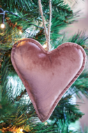 Velvet Heart Ornament Pink M