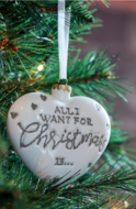 RM All i want for christmas heart ornament